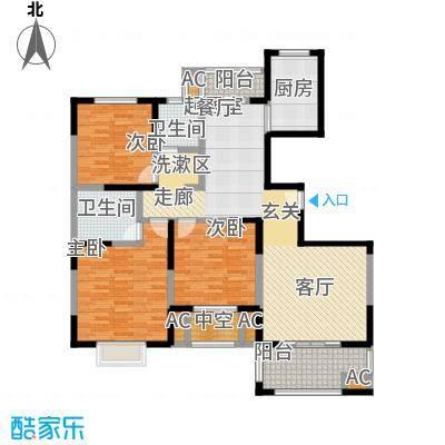 仁恒名邸户型3室2卫1厨