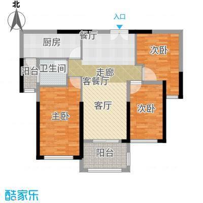 御湖湾96.00㎡单片A1-2户型3室2厅1卫