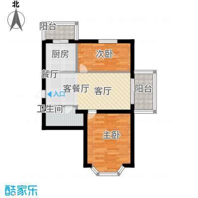 祥瑞府邸54.12㎡二居一厅54.12平方米户型