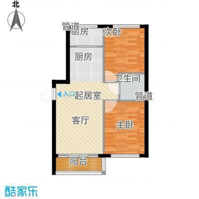 祥瑞府邸62.33㎡二居一厅62.33平方米户型