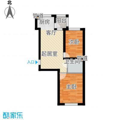 祥瑞府邸44.68㎡二居一厅44.68平方米户型