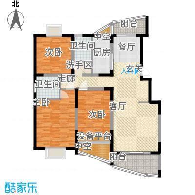 三湘盛世花园122.11㎡房型: 三房; 面积段: 122.11 -135.63 平方米;户型