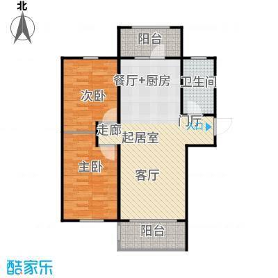 哈佛特区93.61㎡两室两厅户型使用面积60.2平米户型2室2厅1卫