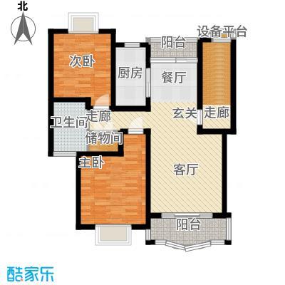 久华佳苑90.46㎡房型: 二房; 面积段: 90.46 -100.28 平方米;户型