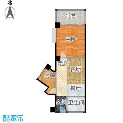 金雅迪大厦43.16㎡一室两厅一卫64m2户型