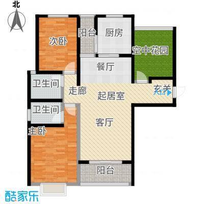曲江・国风世家113.22㎡B1户型两室两厅两卫户型2室2厅2卫
