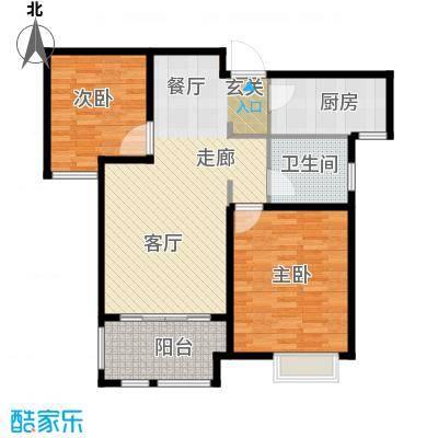 橡树湾85平米两室两厅一卫户型2室2厅1卫