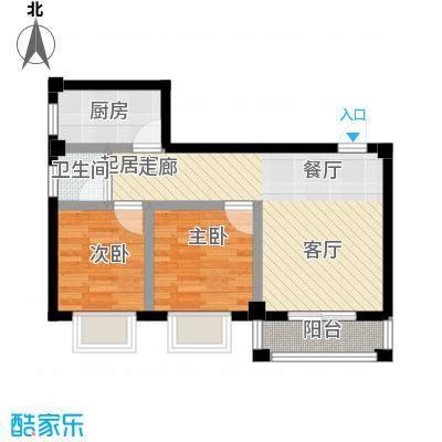 咸宁印象67.73㎡E户型2室2厅1卫