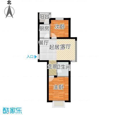 安鸿景苑67.00㎡67平米两室两厅一卫户型