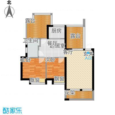 鑫都・阳光丽景85.00㎡2室2厅1卫户型