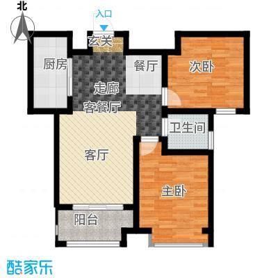 中国铁建・明山秀水85.91㎡C3户型2室2厅1卫