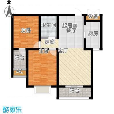 天缘盛世86.07㎡二室二厅一卫户型2室2厅1卫