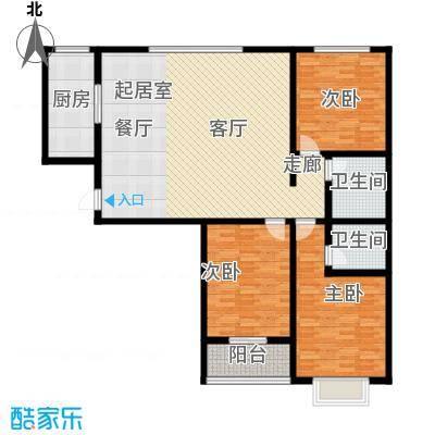 天缘盛世134.55㎡三室二厅二卫户型3室2厅2卫