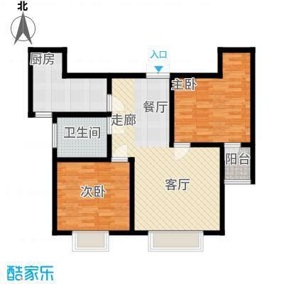 东城新华风景77.78㎡二期1号楼标准层2室2厅1卫户型2室2厅1卫