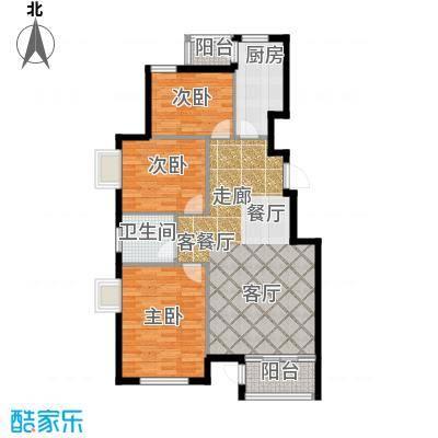 水岸天华112.48㎡三室二厅一卫户型