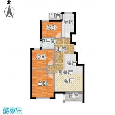 水岸天华106.04㎡三室二厅一卫户型