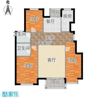 水岸天华134.34㎡三室两厅两卫户型