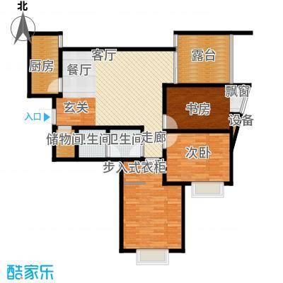 新界长安107.78㎡C户型三室两厅一卫 赠9.6平花园 小三室 步入式衣帽间户型
