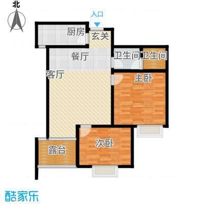 新界长安90.32㎡D户型两室两厅一卫 赠6.09平花园 4.6平客厅 近17平主卧户型