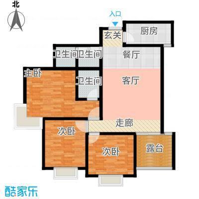 新界长安117.08㎡E户型三室两厅两卫 赠6.09平花园 纯南采光 完善功能分布户型