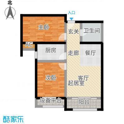 怡水公馆2室2厅1卫户型2室2厅1卫