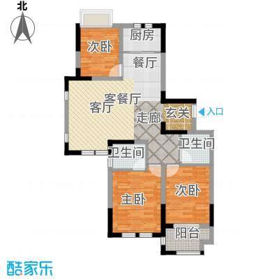 荣盛兰亭苑110.02㎡6/8号楼H1户型3室1厅2卫1厨