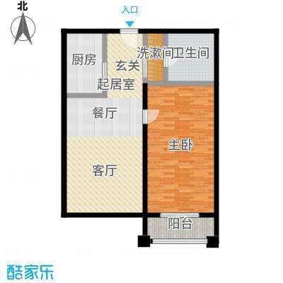 明发商业广场92.53㎡Mall力HOUSE A3户型76.01-92.53户型1室2厅1卫
