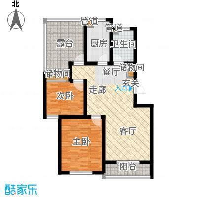 金厦水语花城90.60㎡两室一厅一卫――85.54平米户型