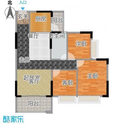 德洲城88.91㎡三期13栋03、04户型3室2厅1卫户型3室2厅1卫