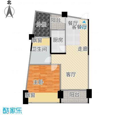 鸿洲・天玺55.00㎡D2户型1室2厅1卫
