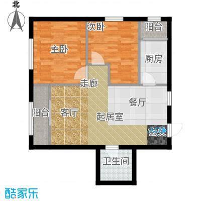 V时代G户型 两室一厅一卫户型2室1厅1卫