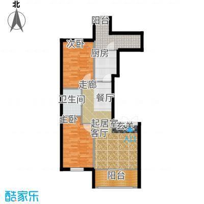 V时代E户型 两室两厅一卫户型2室2厅1卫