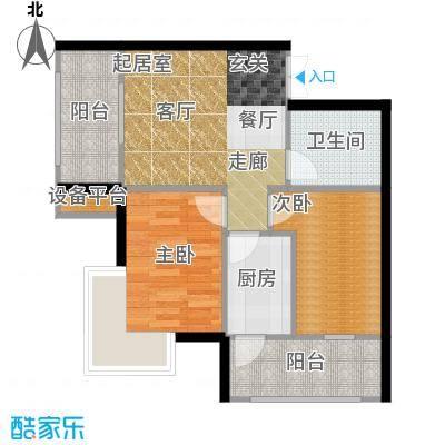 V时代B户型 两室一厅户型2室1厅1卫