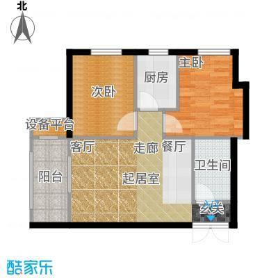 V时代A户型 两室一厅户型2室1厅1卫