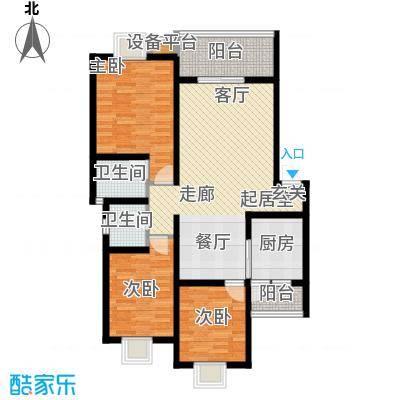 名门外滩104.00㎡E3A三室两厅双卫双阳台户型