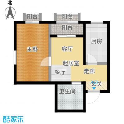 美茵小镇一室一厅一卫 50.77平米户型