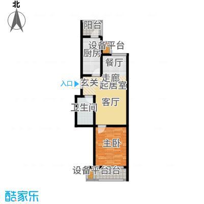 美茵小镇一室一厅一卫 66.64平米户型