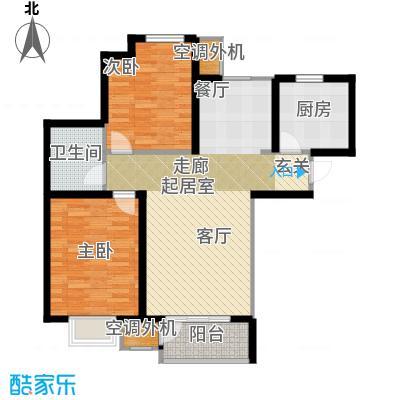 大地12城二期--朗琴园106.00㎡两室两厅一卫户型2室2厅1卫