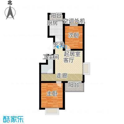 大地12城二期--朗琴园15号楼两室两厅一卫 89-90㎡户型