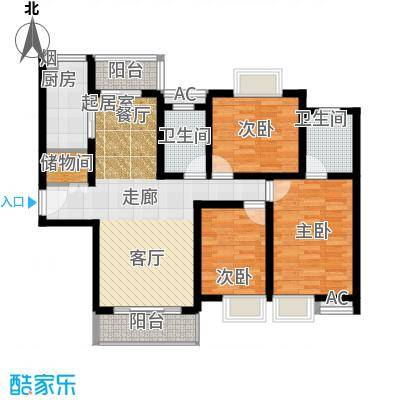 复地翠微新城(三期)110.00㎡房型: 三房; 面积段: 110 -150 平方米;户型