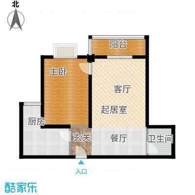 金色港湾一室两厅双阳台,81.56户型