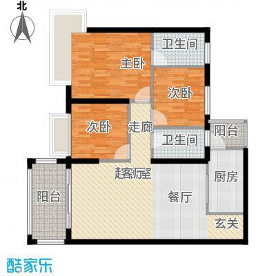 景新国际名城107.00㎡11栋豪华型户型3室2卫1厨