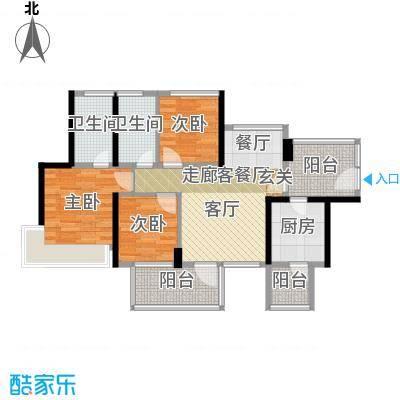 潜龙曼海宁(南区)2栋2-A3阳台户型3室1厅2卫1厨