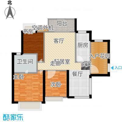 富川瑞园94.00㎡两房两厅一卫户型