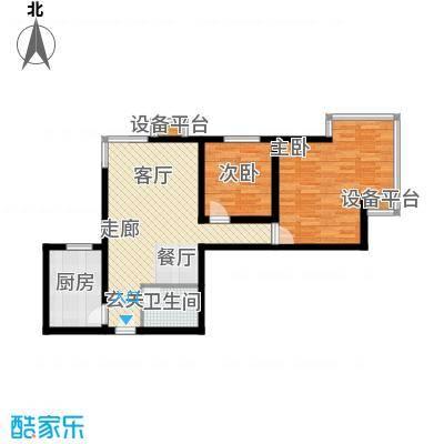 银海水韵(二期华泰御景)89.72㎡二室一厅一卫户型