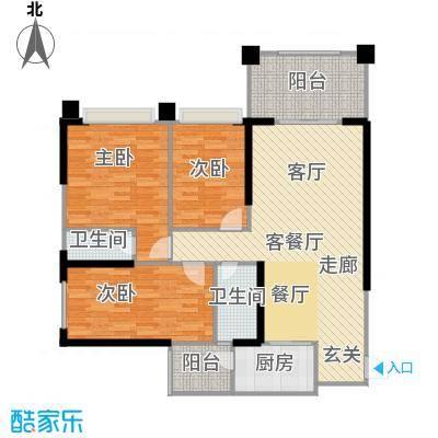 敏捷绿湖国际城109.00㎡1、3、7、14栋03单元户型3室2厅2卫
