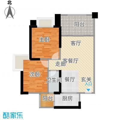 敏捷绿湖国际城78.00㎡6、10、12、13座04单位户型2室2厅1卫