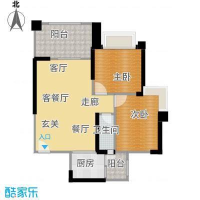 敏捷绿湖国际城78.00㎡6、10、12、13座05单位户型2室2厅2卫