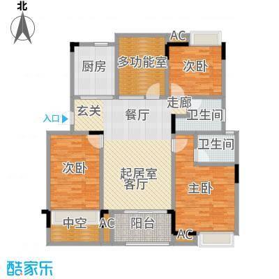 恒大晶筑城111.00㎡D户型偶数层3室2厅2卫户型CC