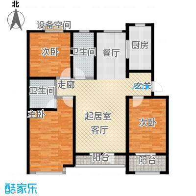 翡翠华府三室两厅两卫 122.34m²户型3室2厅2卫